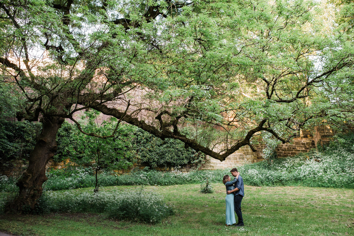 A young couple embrace while standing under a crooked tree